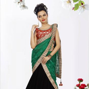Black Velvet Lehenga Choli with Dupatta