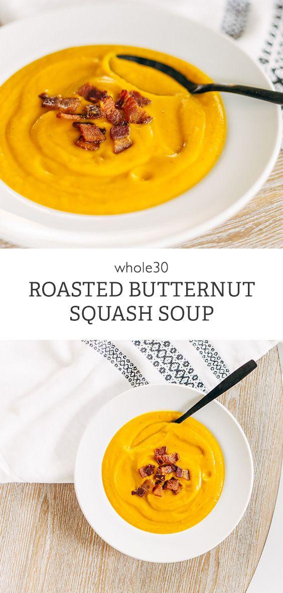 Roasted Butternut Squash Soup (Whole30) - Food Banjo #butternutsquashsoup