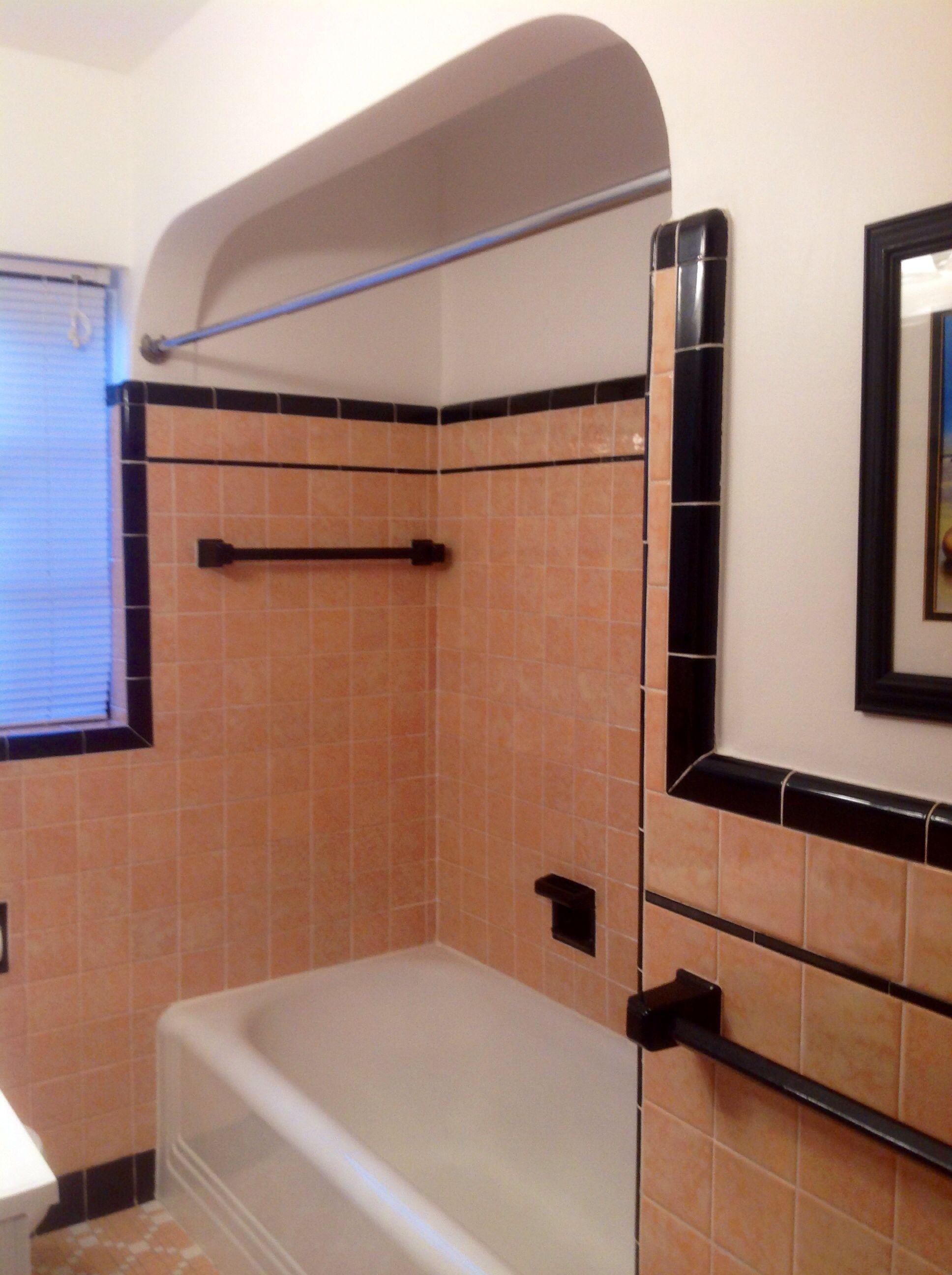 My Vintage 1937 Peach And Black Bathroom In My Home In