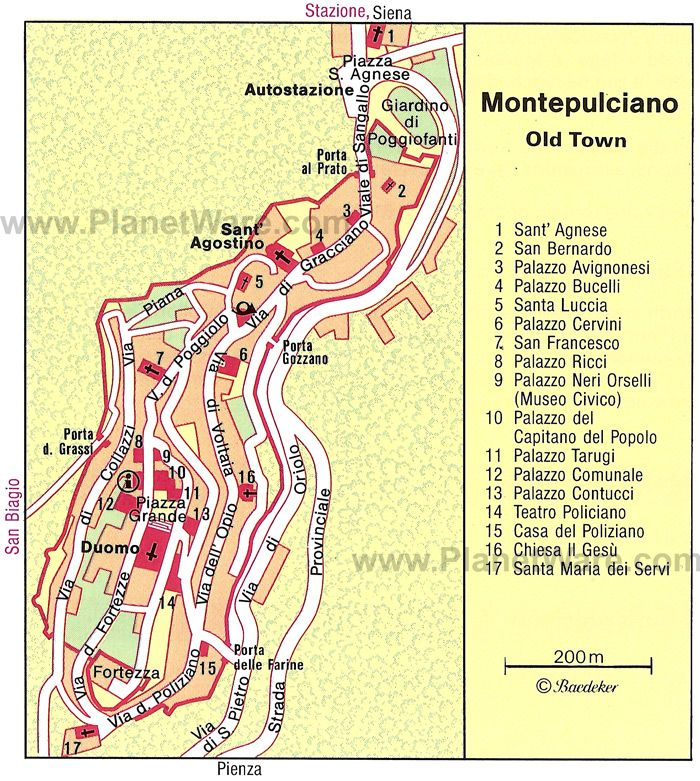 Montepulciano Map Tourist Attractions TravelTuscany