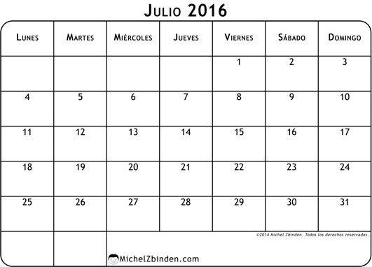 Calendario Julio  Con Notas Para Imprimir  July Calendar