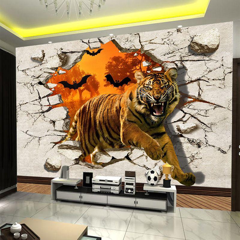 Large Custom Wall Mural Non Woven Wallpaper Wall Painting Tiger Broken Wall 3d Creative Living Room Tv Back Custom Wall Murals 3d Wall Painting Mural Wallpaper