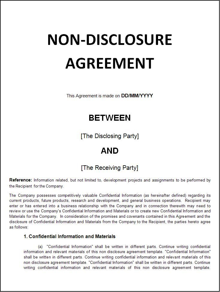 Non Disclosure Agreement Non Disclosure Agreement Agreement Templates