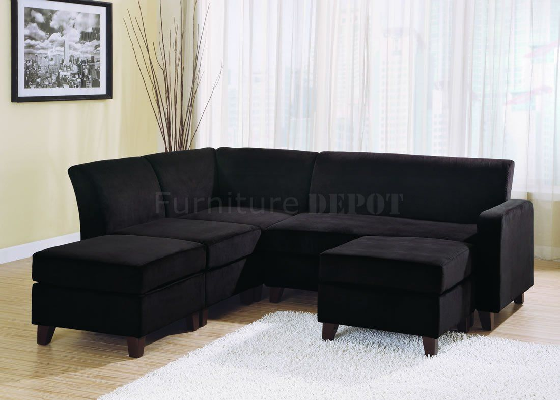 Best Black sectional sofa with chaise ... black microfiber ...