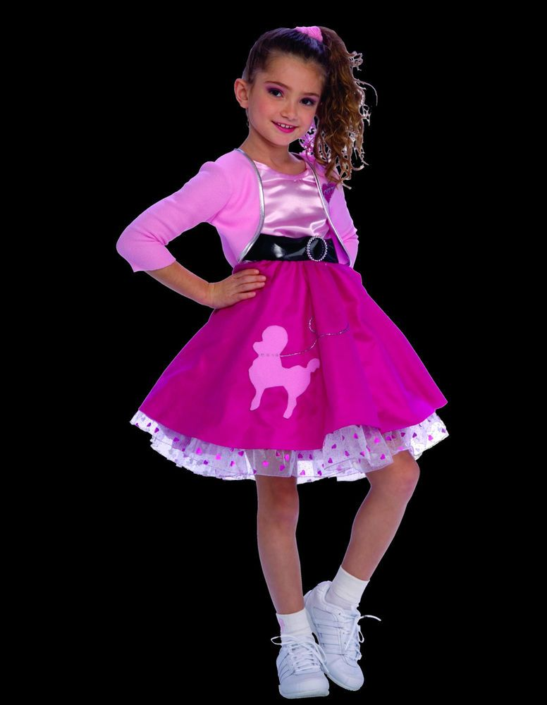 Fifties Girl Costume Dress Jacket Poodle Skirt Retro 50s Sock Hop Jukebox Rock