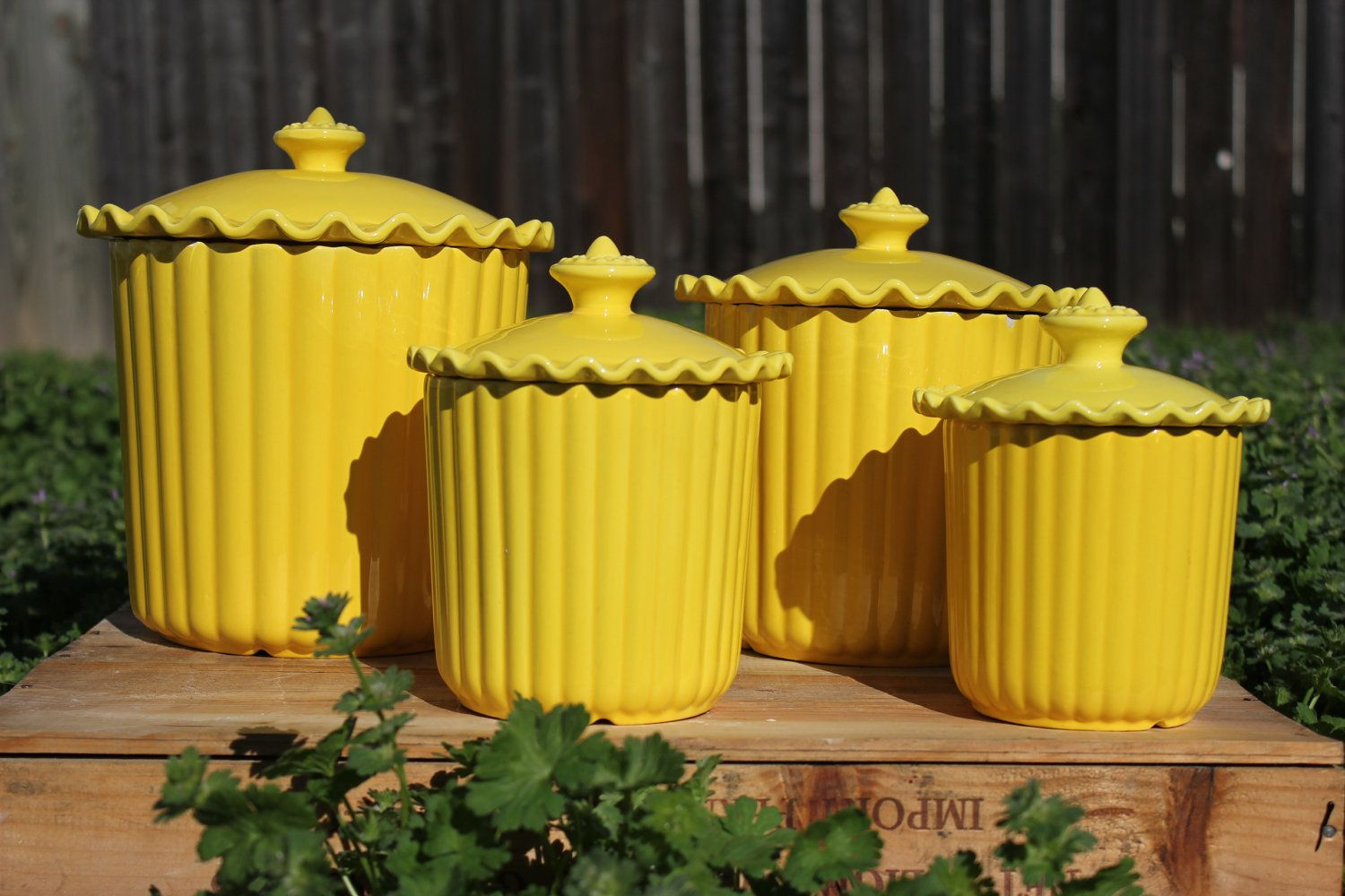 Lovely Yellow Kitchen | Cheery Yellow Ceramic Kitchen Canisters Set Of 4 By  DomusDecorus