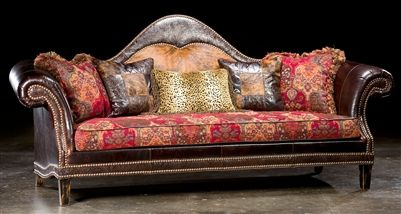 High style country western sofa. USA made. Luxury fine home furnishings and high quality furniture for any home decor