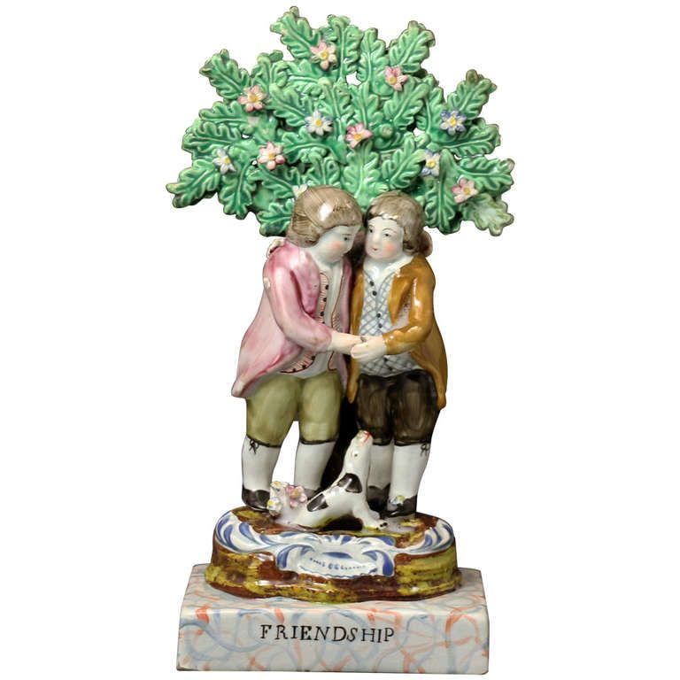 "friendship staffordshire | English,staffordshire Pottery Pearlware Boage Figure ""Friendship ..."