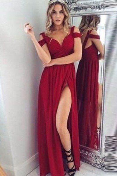 Red Chiffon Off Shoulder Slit Long Dresssummer Prom Dress Dresses