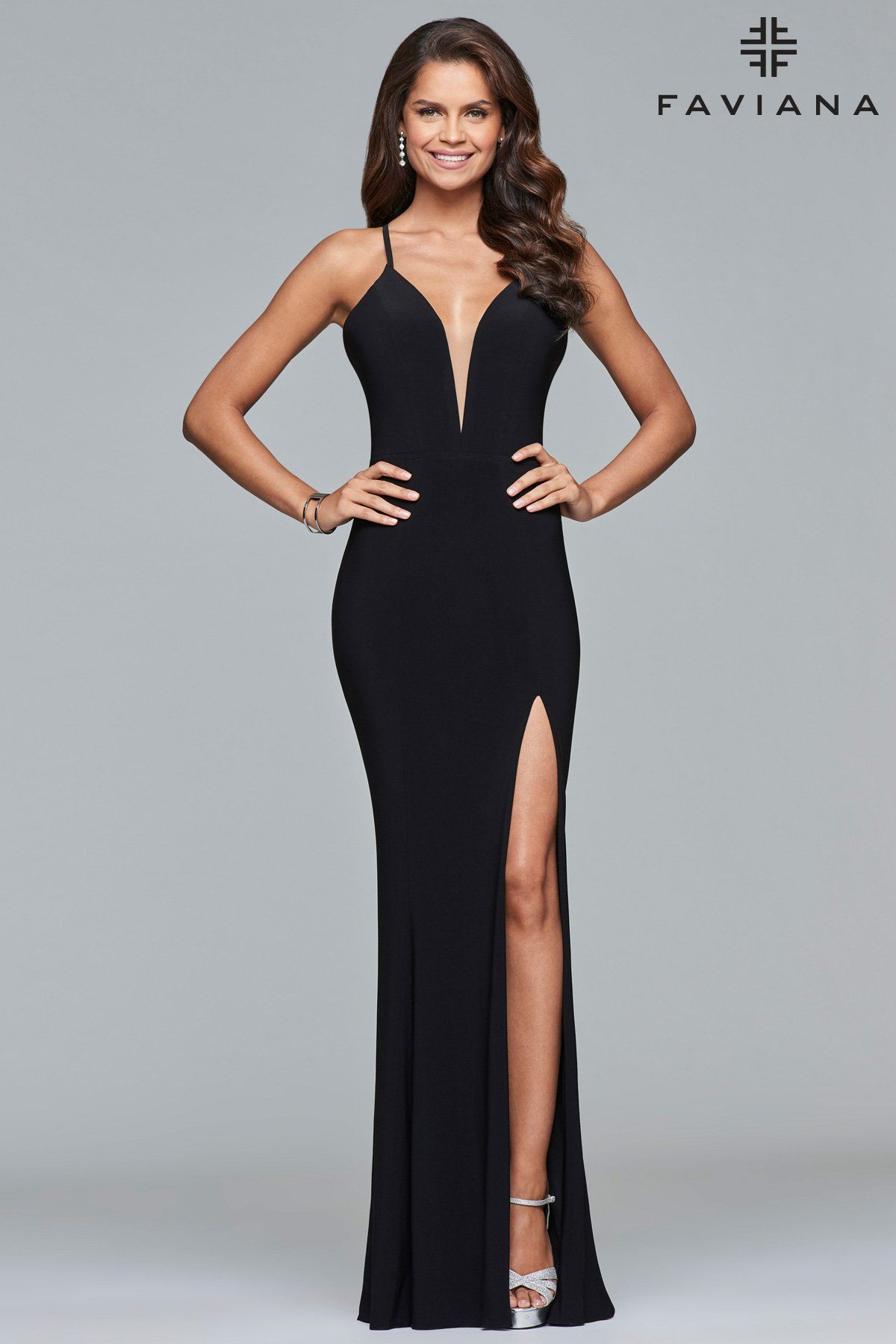 eaf94cb81352 Faviana 7977 fitted jersey gown with a plunging neckline and corset back.