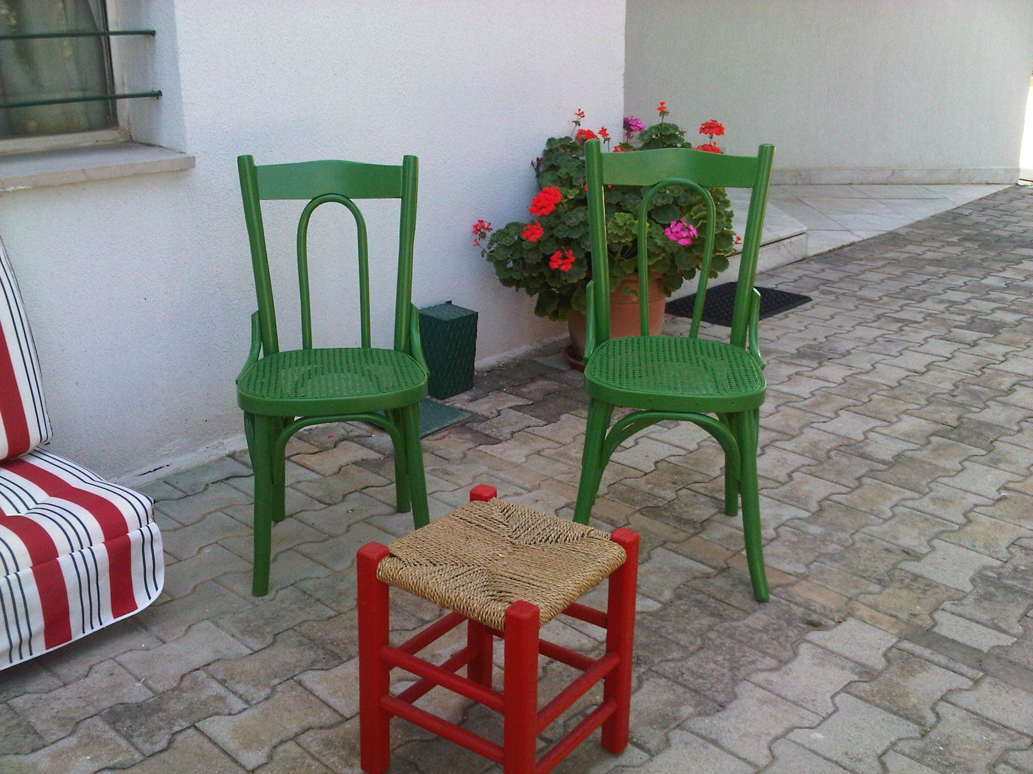 Lebanese Traditional Chairs Red And Green Traditional