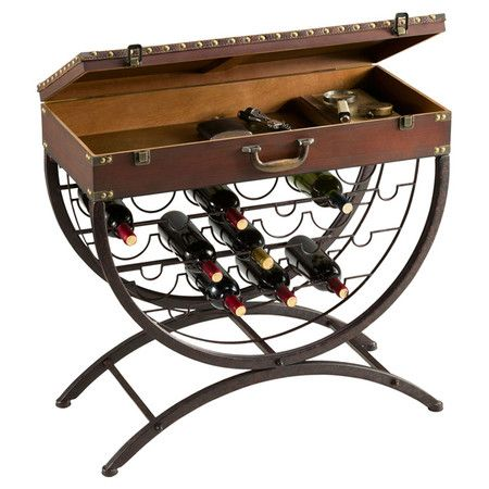 This versatile wine table brings sommelier-worthy style to your dining room with its bottle rack base and trunk-style top. Stocked with towels and toiletries...