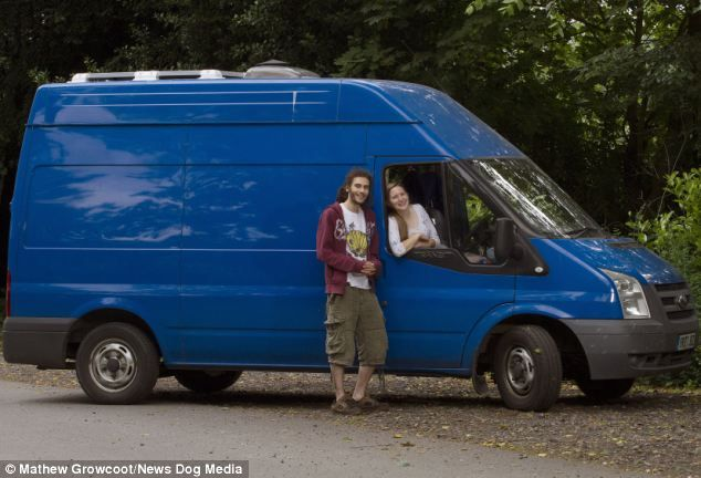 Innocuous: From the outside, the Ford Transit looks like any other van, save for the chimney which leads to a wood burner on the inside