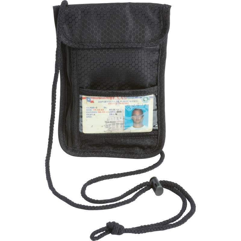 Transparent Cover Mens Wallet Travel Security Passport ID Holder w// Neck Strap