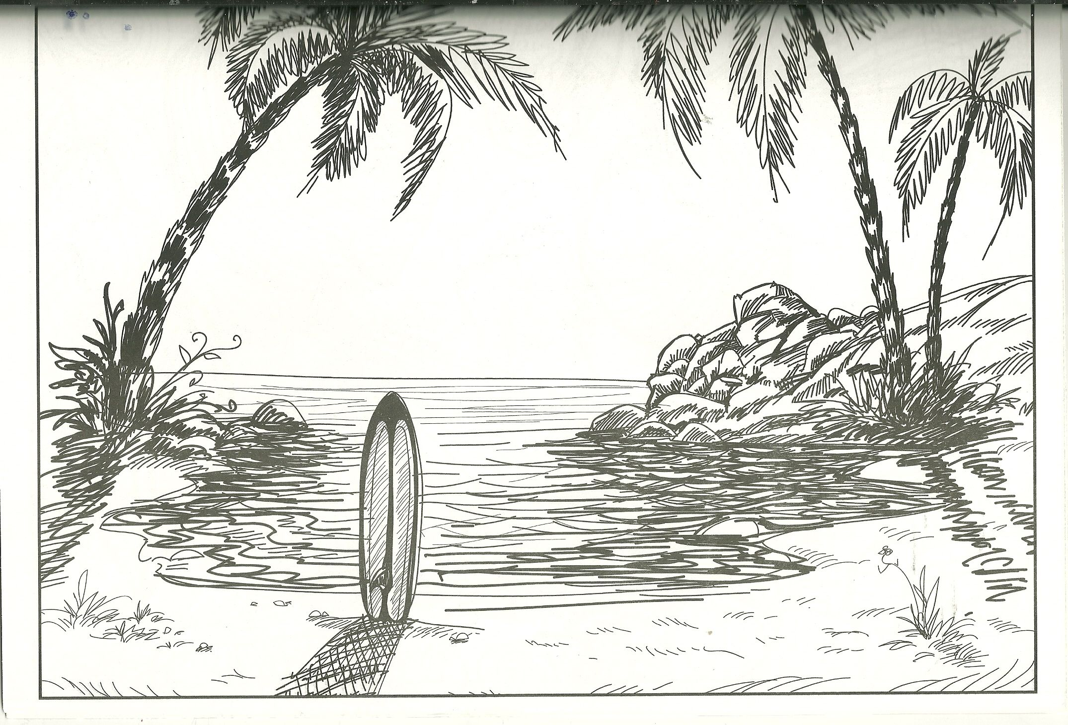 Beach And Surfboard Coloring Page With Images Beach Sketches