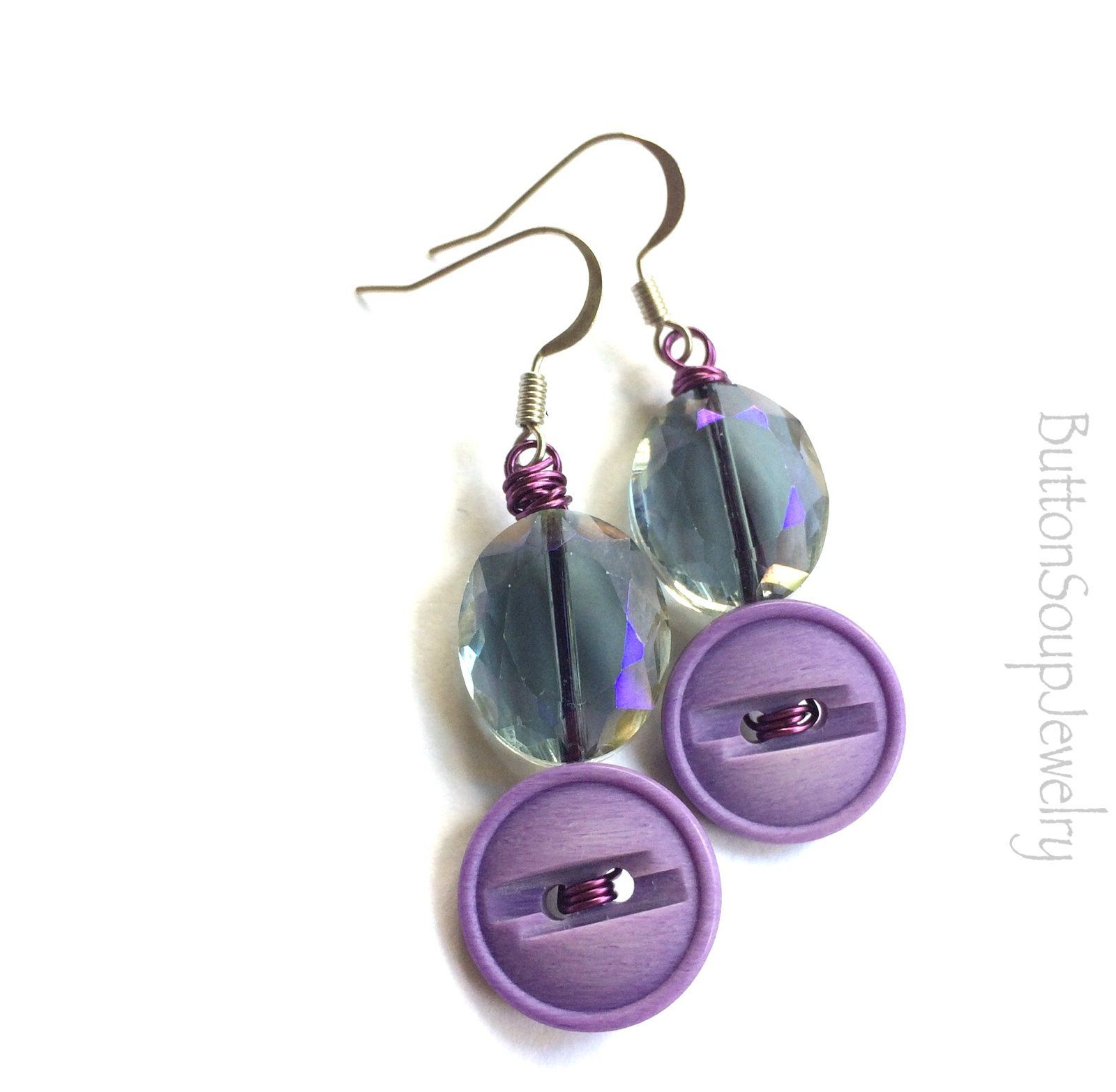 Earrings with Vintage Buttons Crystal Beads