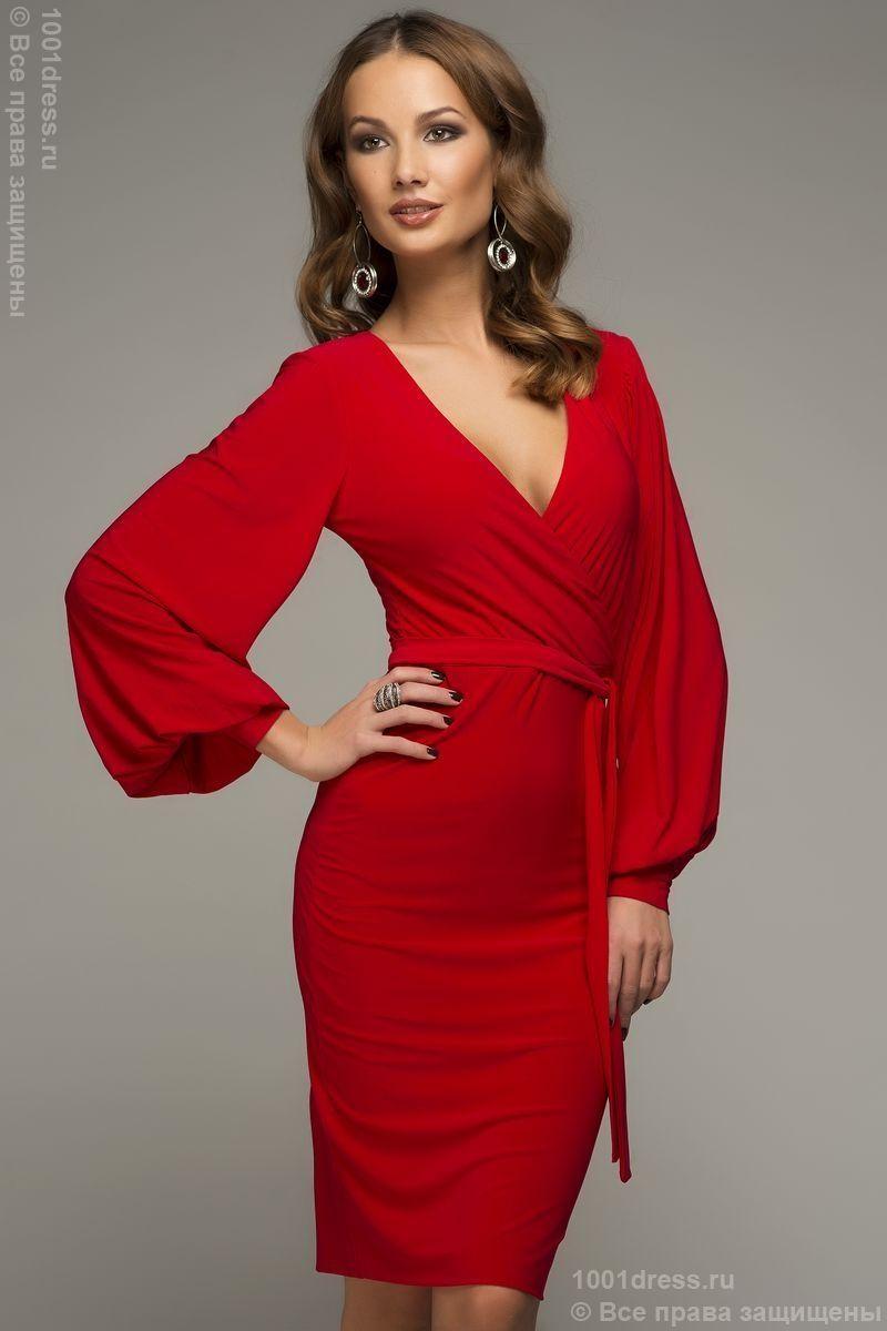 91a5951bc19 Красное коктейльное платье с длинными рукавами и V-образным вырезом купить  в интернет-магазине 1001 DRESS