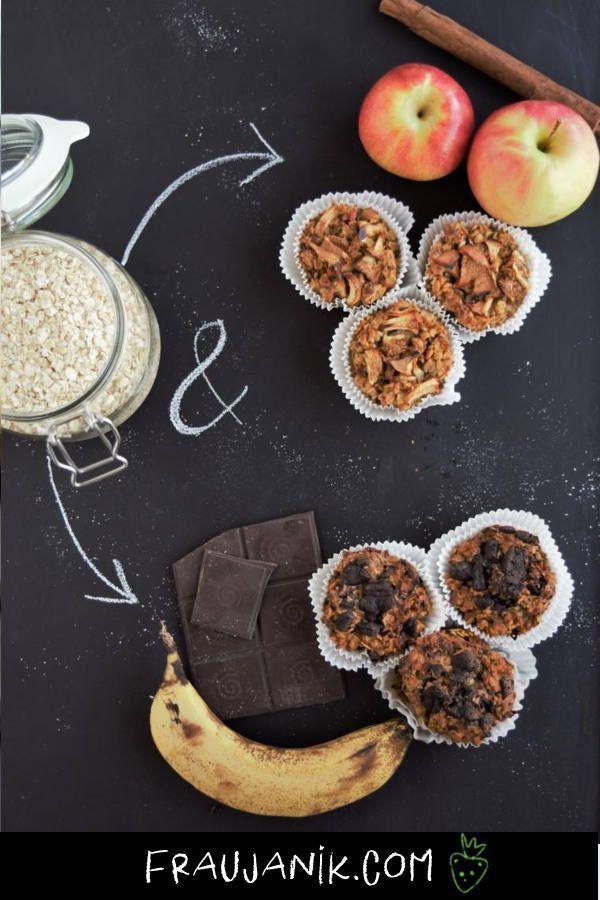 ohne Zucker Frühstücksmuffins ohne Zucker | V, GF | Schoko-Banane & Apfel-Zimt. Gesund, perfekt auf Vorrat zubereitet & für Kinder geeignet. Einfach bedenkenlos zugreifen! Die Frühstücksmuffins eignen sich auch super für die Schule oder Arbeit, oder als Snack z