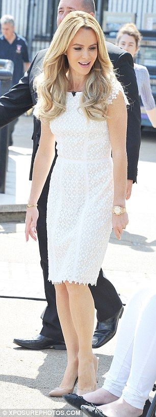 Amanda Holden Wears A Bright White Flower Design Dress On -9480