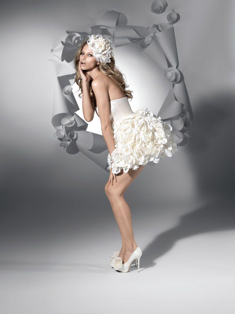 Mini white wedding dress  floral mini dress  Everything for wedding  Pinterest  Ball gowns