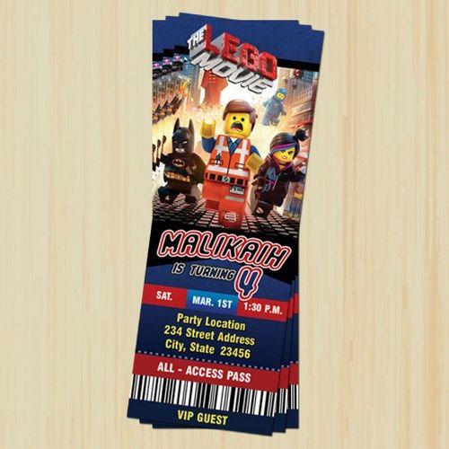 Lego Ticket Invitation, Printable, Personalized, Custom, DIY - ticket invitation template
