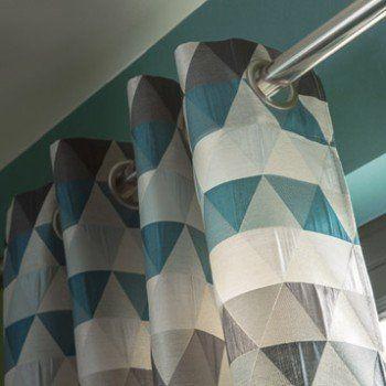 Rideau Tamisant Triangles Bleu Pétrole L 140 X H 260 Cm