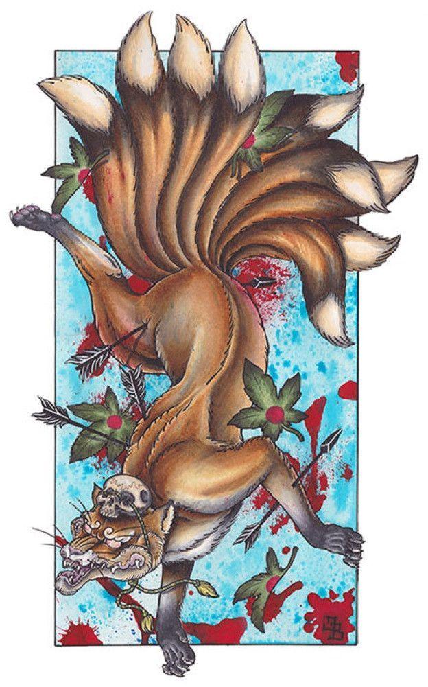 Kitsune By James Bird Nine Tail Fox Japanese Tattoo Canvas Art Print Japanese Tattoo Fox Tattoo Japanese Tattoo Designs