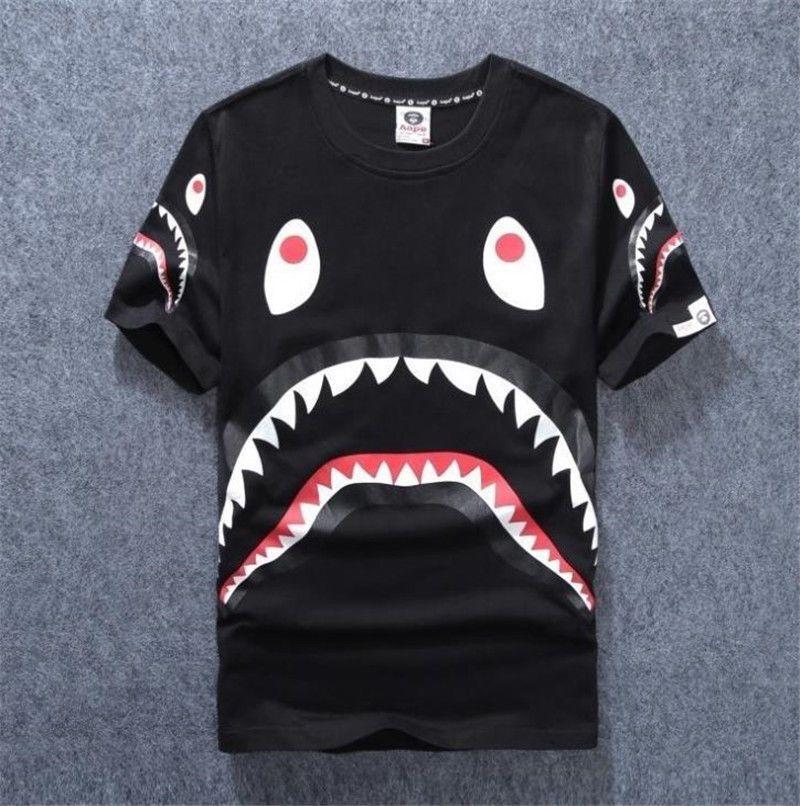 BAPE A BATHING APE Camo T-shirt Crew Neck Shark Head T Shirt Tops Mens Basic hot