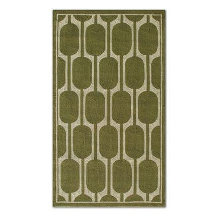 Grandin Road green ivory modern geometric outdoor rug via Room Fu - Knockout Interiors