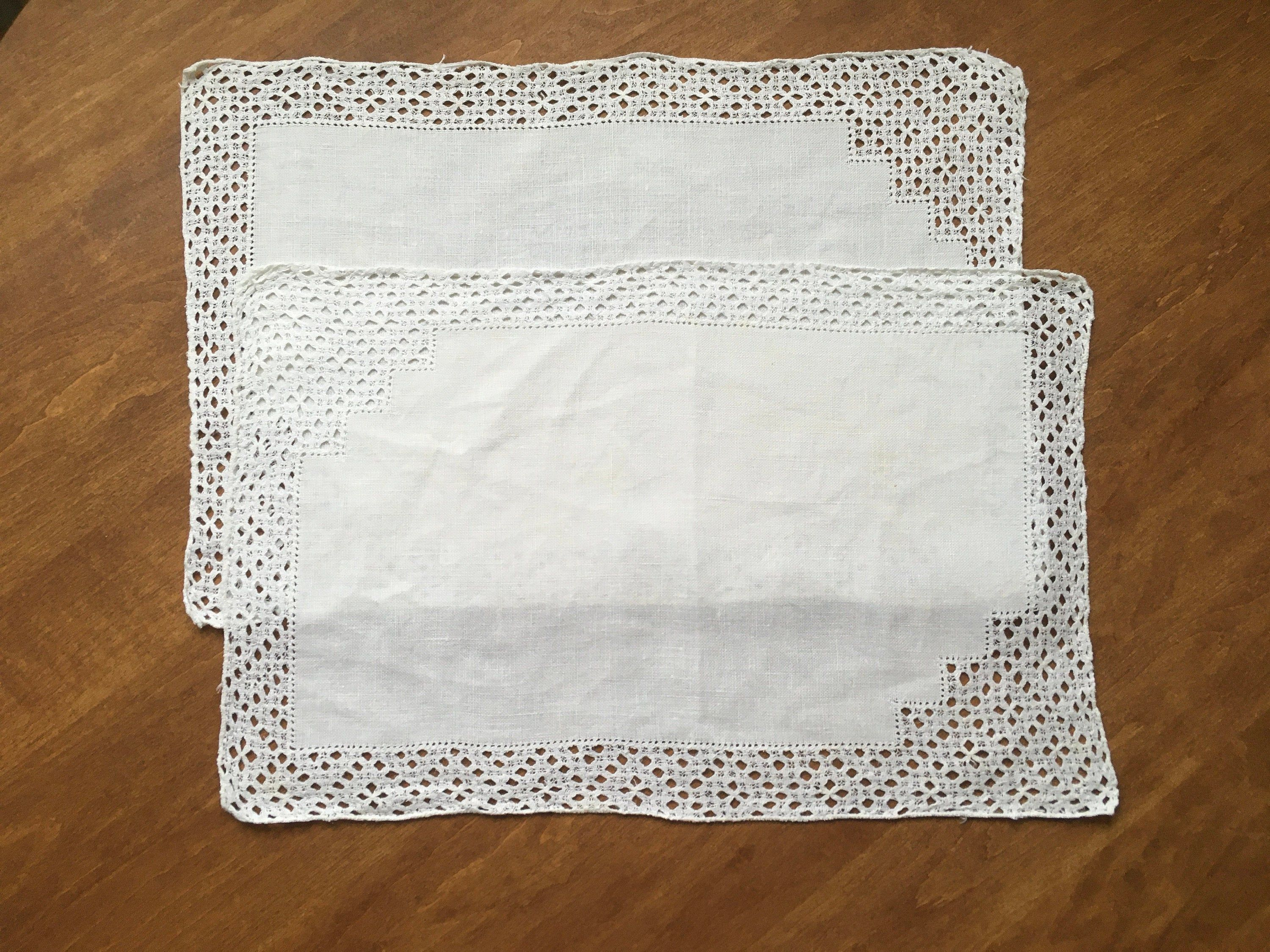 80s Placemat or Table Mat White on White Embroidered Design Lace Edging Vintage 80s Table Setting