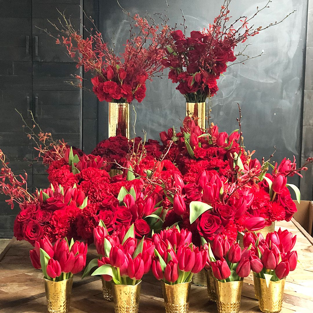 Chinese New Year Flowers Red Centerpieces Red Flower