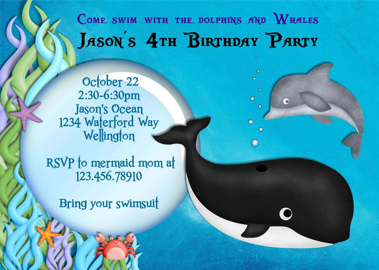 Whale and Dolphin Birthday Party Invitation Printable 1600 via
