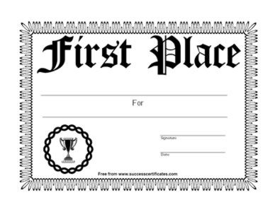 1st Place Certificates Template | 1st Place Certificate #6   Free Printable  Certificate Templates  First Place Award Certificate