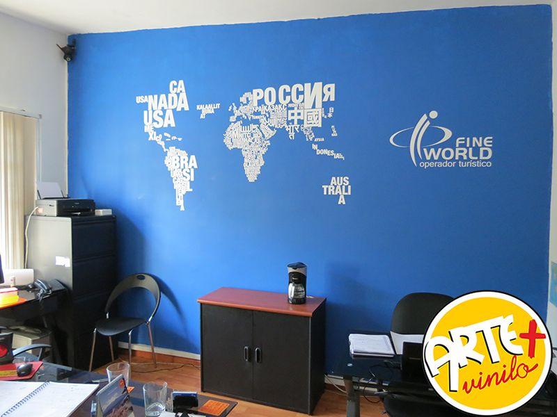vinilo decorativo mapa mundi
