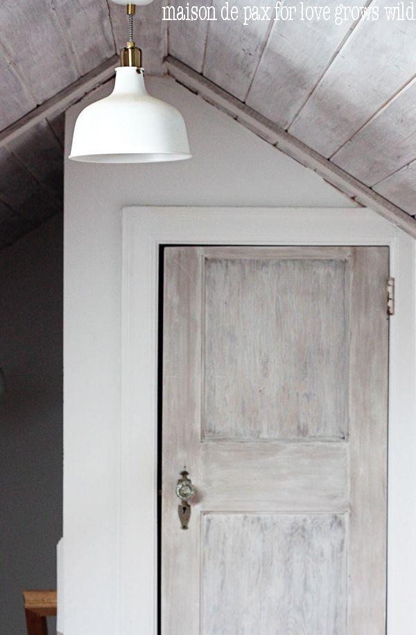 Whitewashed Door Tutorial Love Grows Wild Stained Doors Distressed Doors Wood Closet Doors