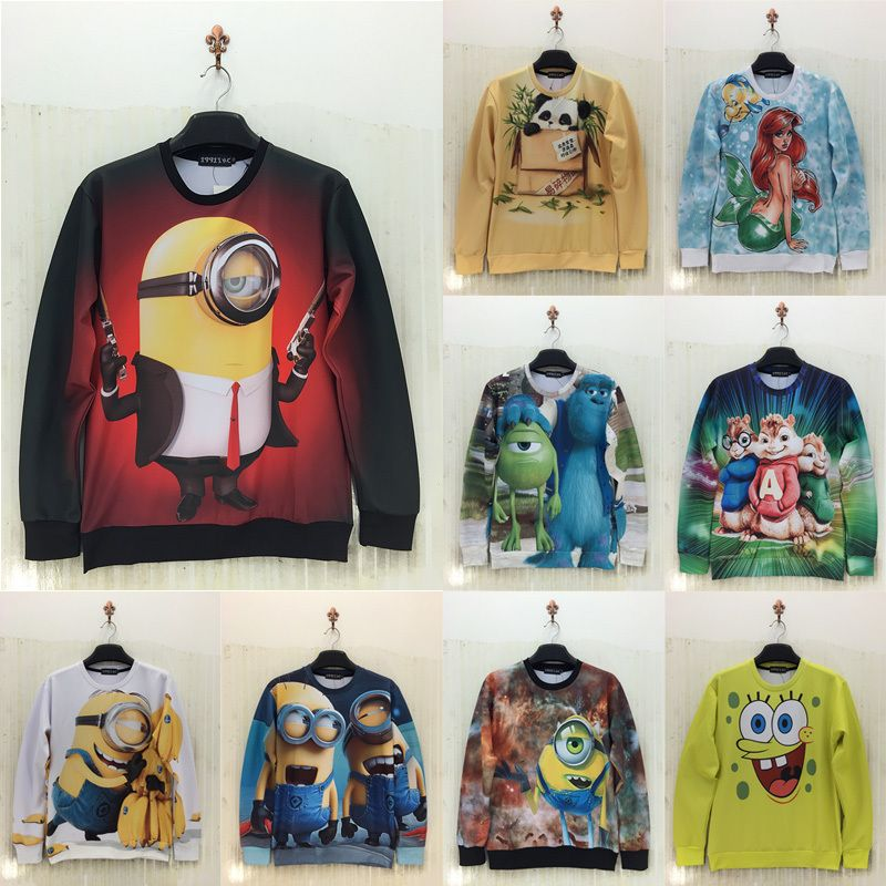 2015 brand fashion hipster 3d anime Minions/LOL element hoodies ...