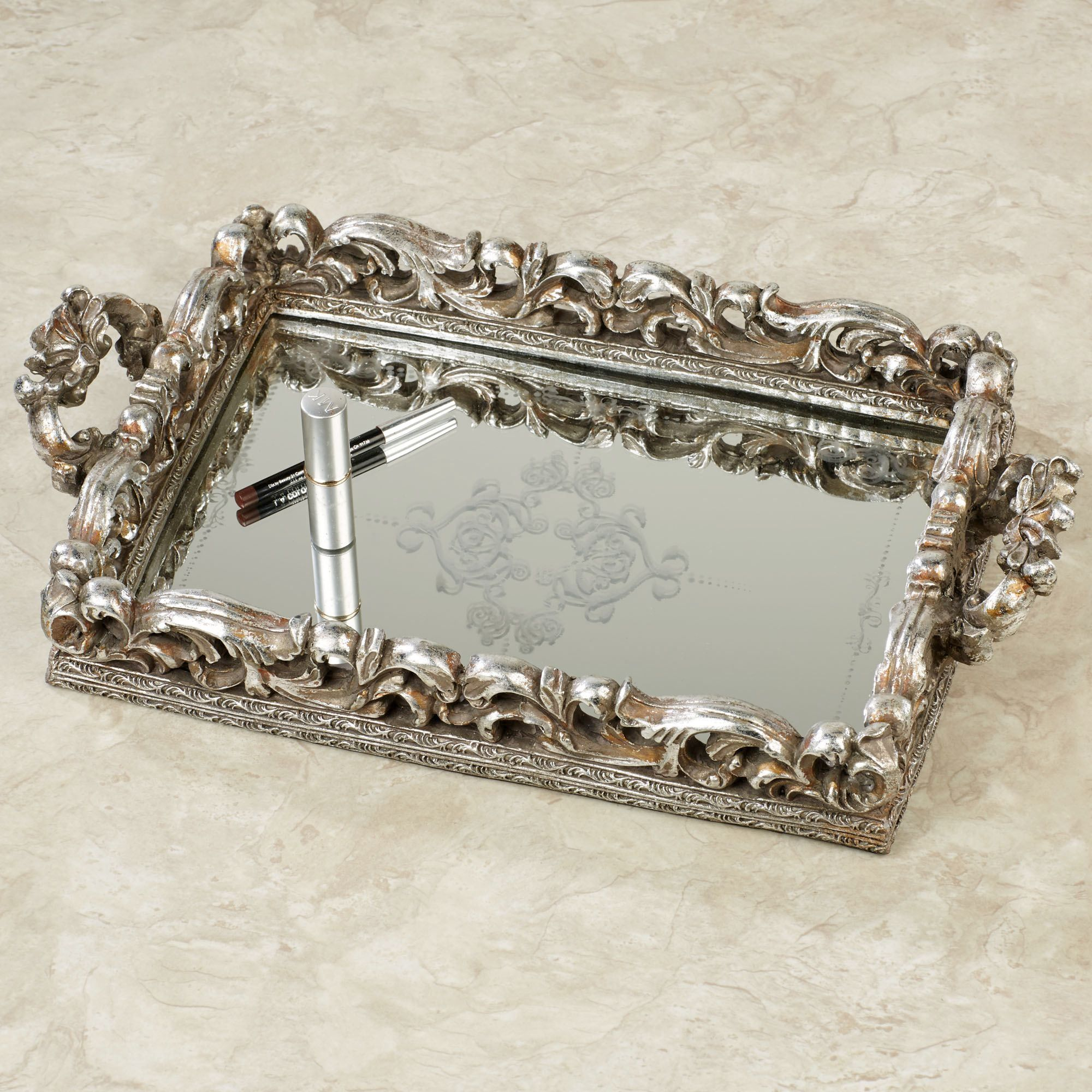 Elaine antique silver mirrored vanity tray in cool things