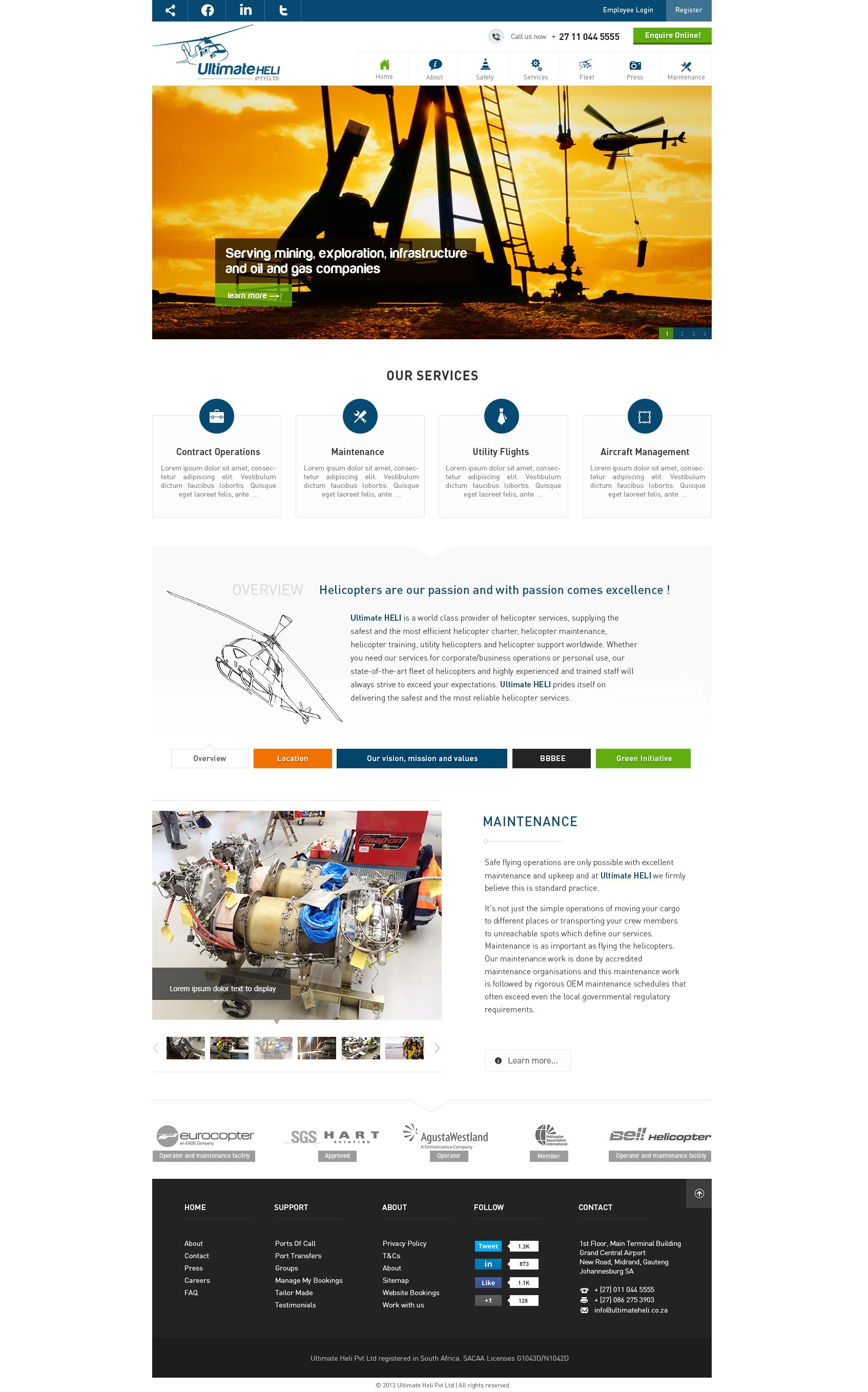Homepage for South Africa based aviation company Oil and