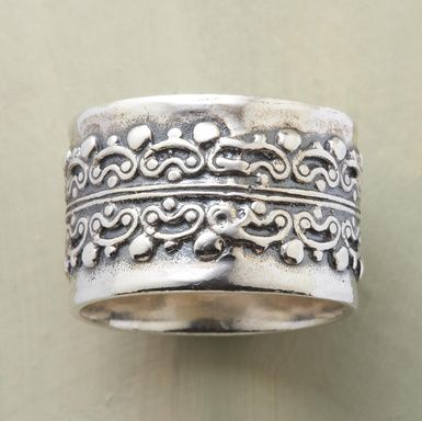 """Intricate, raised details visually gleaned from the historical iron gates of Seville impart architectural significance to an 1/2"""" wide sterling silver band. A Sundance exclusive in whole sizes 5 to 9."""