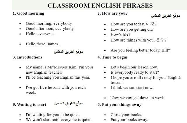 اهم الجمل والتعبيرات باللغه الانجليزيه تقال داخل الفصل للمعلم والمتعلم Classroom English Phrases English Phrases Learn English Phrase