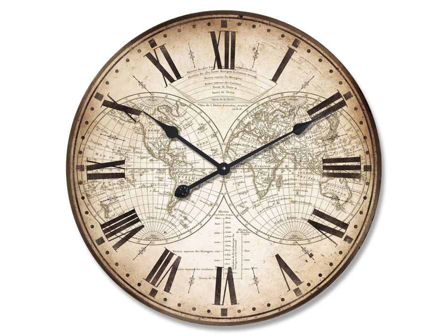 Home What S New Large Antique World Map Clock Antique World Map Clock Antiques