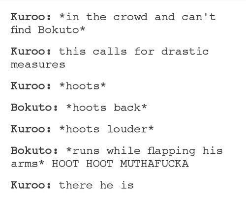Kuroo & Bokuto (I could totally see this happening XD)