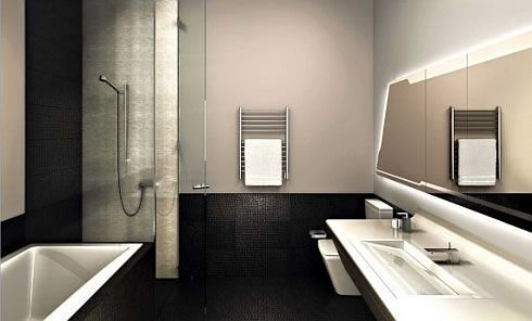 Enchanted W Hotel & Residences for Ultimate Leisure : Black Tile Floor  Backlit Mirror Contemporary W