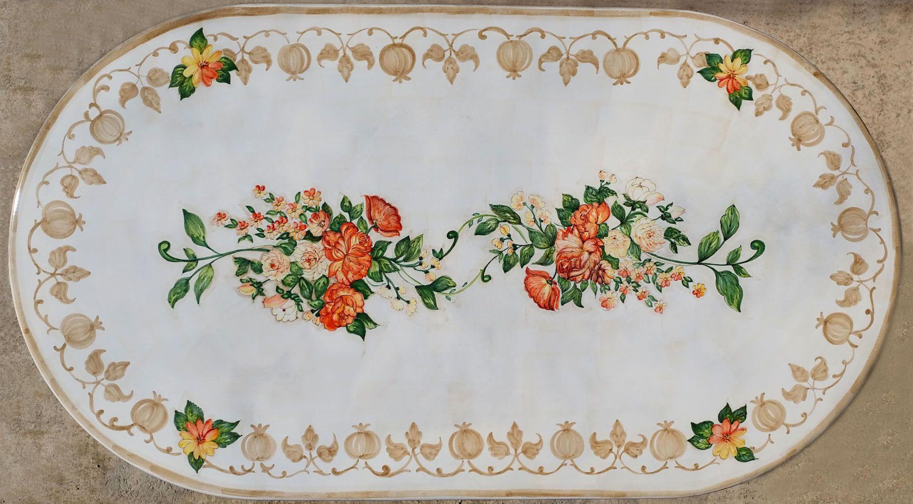 Tavolo Vietri ~ Piano per tavolo ovale con rose cm ceramiche di vietri