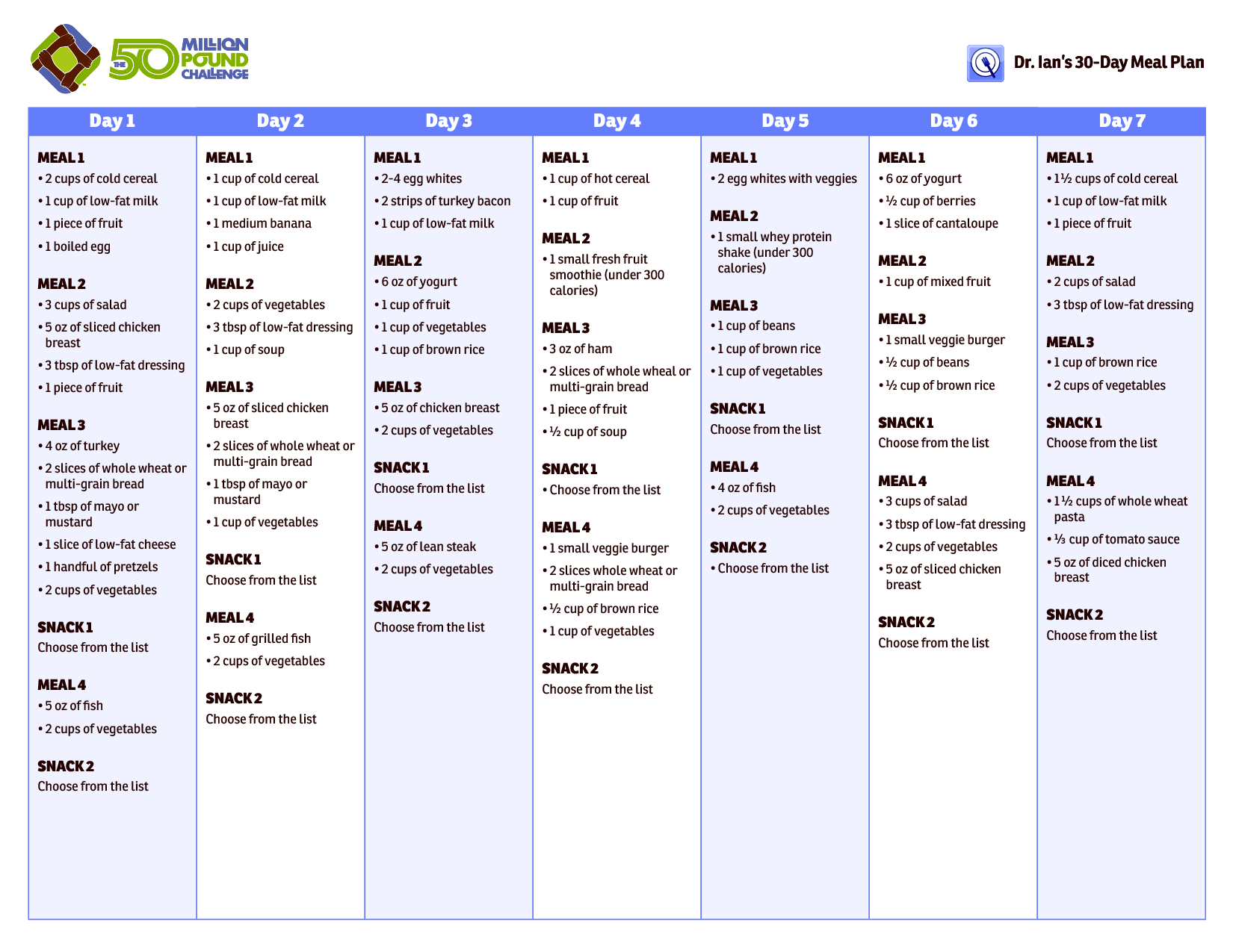 30-Day Healthy Meal Plan | 30 Day Meal Plan | Health | Pinterest ...