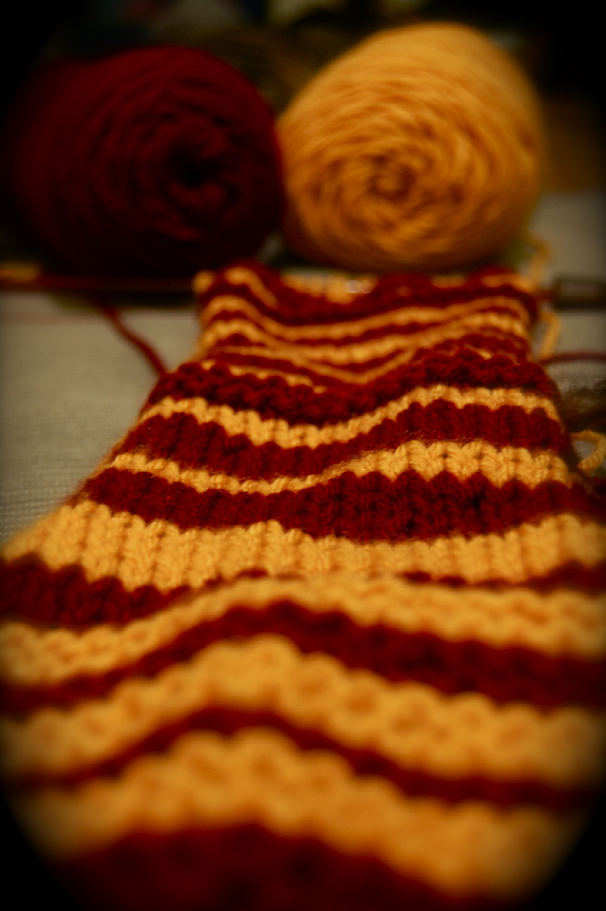 Gryffindor. It just occurred to me that I could knit my own Hogwarts ...