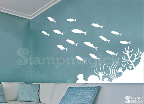 school of fish wall decal ocean sea scene wall decal removable vinyl wall decor graphics