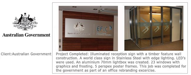 Australian Government Signage - EFIC - Top of the range creation - Slim Light Box with push through style lettering.