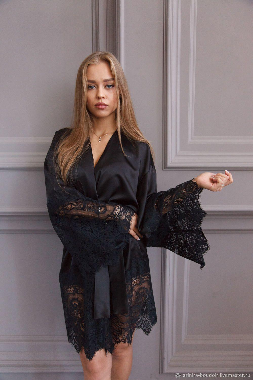 da300110422156c Купить Шелковый халат - халат, черный, пеньюар, домашняя одежда, одежда для  дома, женский халат
