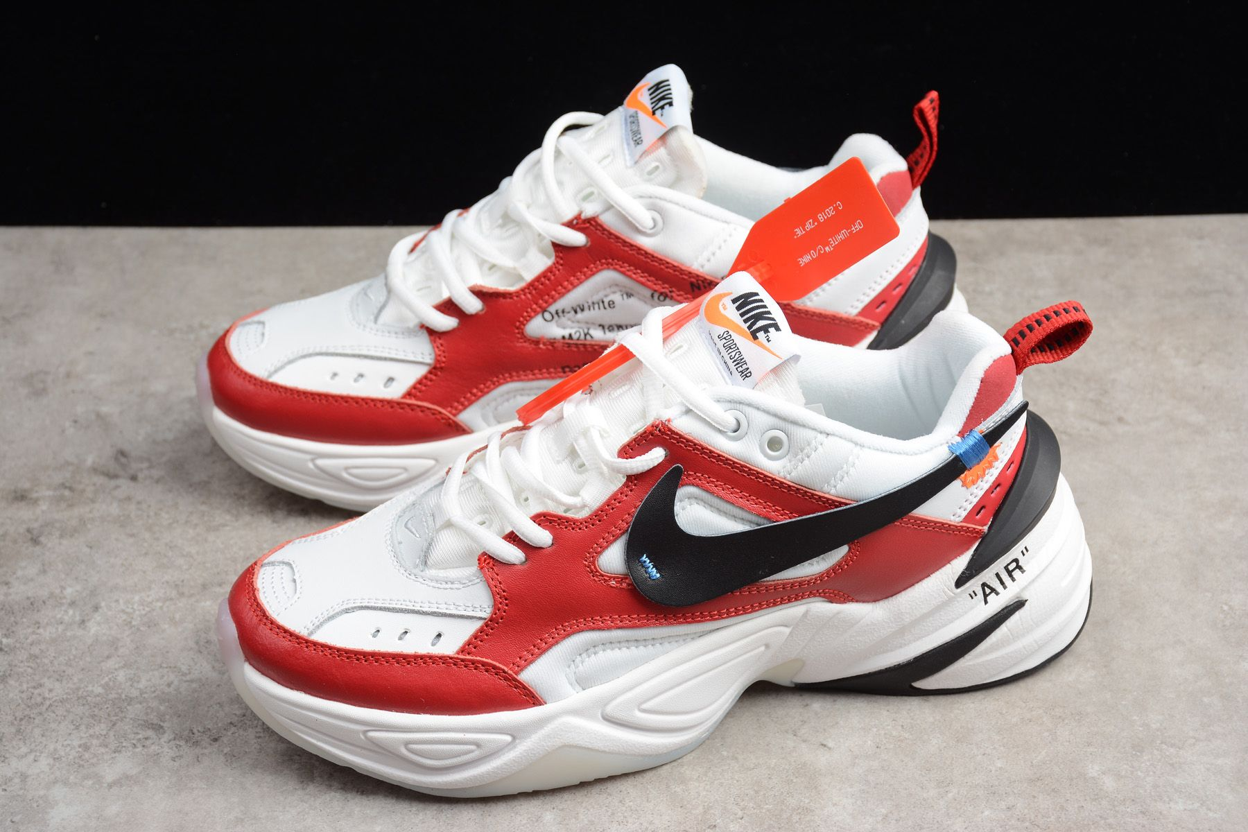 Latest OFF-WHITE x Nike M2K Tekno Red White Black A03108-060